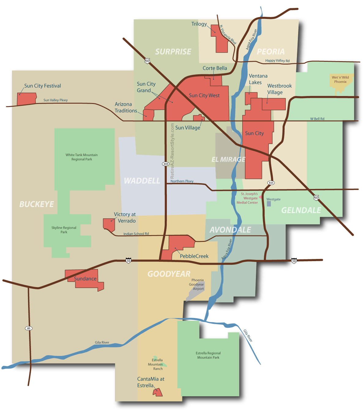 Map of retirement communities in the west valley