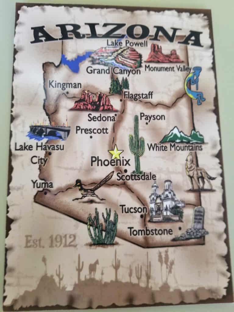 Postcard of Arizona cities