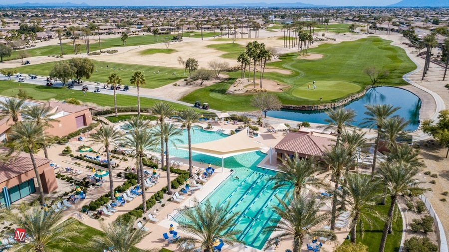 Arial view of Cimarron recreation center, pool and golf course